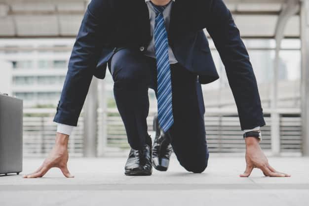 businessman set start running position prepare fight business race 42193 123