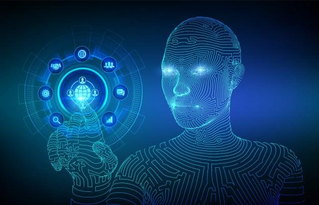 outsourcing und hr soziales netzwerk und globales rekrutierungskonzept auf virtuellem bildschirm cyborg hand beruehrt digitale schnittstelle 127544 804